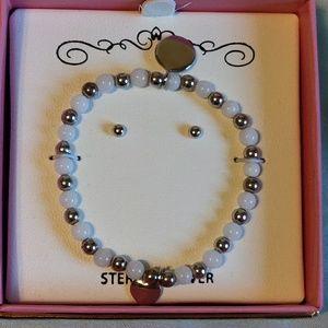 Baby bracelet and earrings